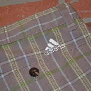 1895 Mens Adidas Golf Shorts Size 34 Gray Plaids